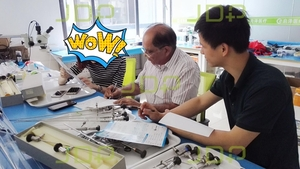 Rigid endoscope repair training for India trainee --Optical rigid endoscopes